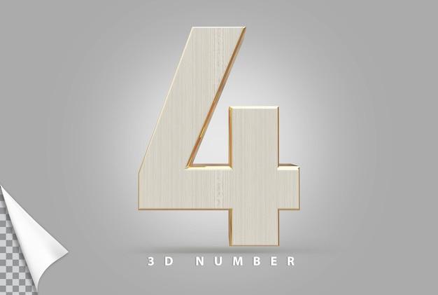 Número 4 3d renderizado em dourado com estilo de madeira