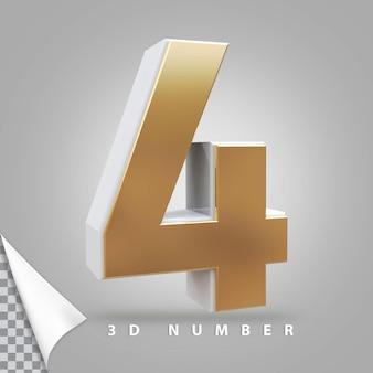 Número 4 3d renderizando dourado
