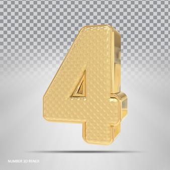 Número 4 com estilo 3d dourado