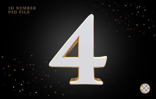 Número 4 com renderização 3d em estilo dourado