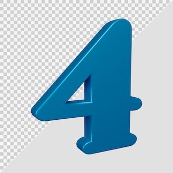 Número 4 em renderização 3d