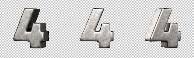 Número 4 (quatro) de uma coleção de números de ferro riscado. isolado. renderização 3d