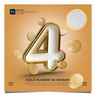 Número 4 renderização em 3d estilo ouro com elemento