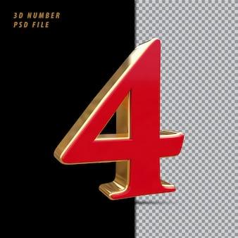 Número 4 vermelho com renderização 3d em estilo dourado