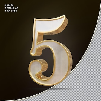 Número 5 3d luxo dourado
