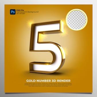 Número 5 3d render gold estilo com elementos