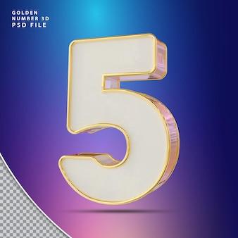 Número 5 3d render luxo