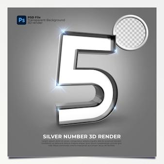 Número 5 3d render silver estilo com elementos