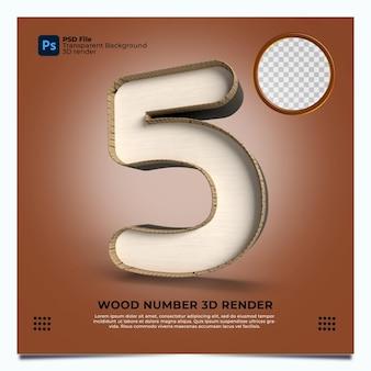 Número 5 3d render wood estilo com elementos