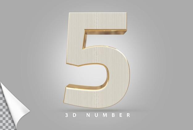 Número 5 3d renderizado em dourado com estilo de madeira