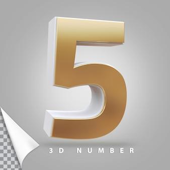 Número 5 3d renderizando dourado