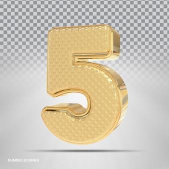 Número 5 com estilo 3d dourado