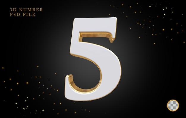 Número 5 com renderização 3d em estilo dourado