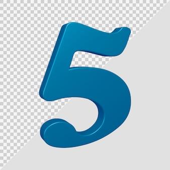 Número 5 em renderização 3d