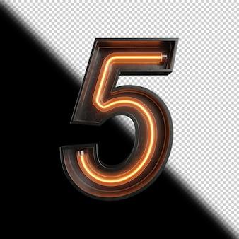 Número 5 feito de luz neon