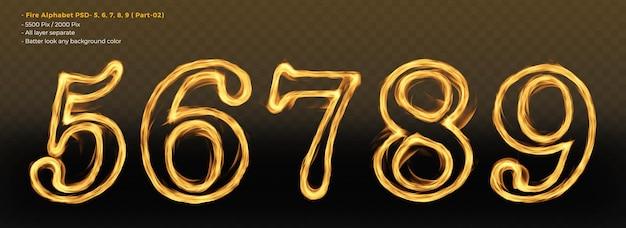 Número 56789 efeitos de texto do alfabeto de fogo
