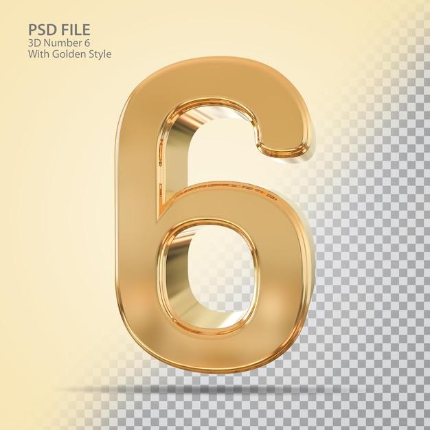 Número 6 3d com estilo dourado