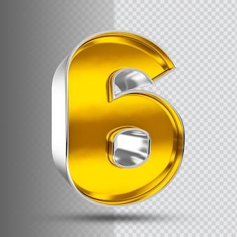 Número 6 3d luxo dourado