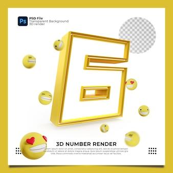 Número 6 3d render cor amarela com elementos
