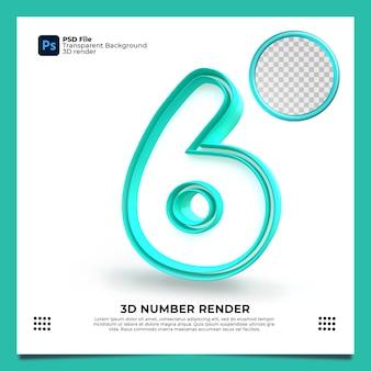 Número 6 3d render cor verde com elementos