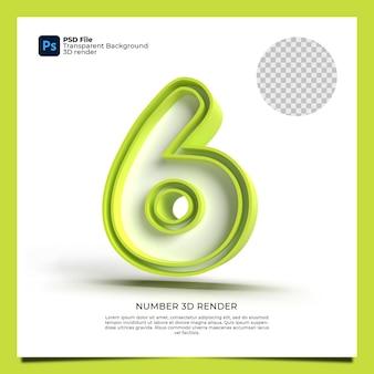 Número 6 3d render cor verde