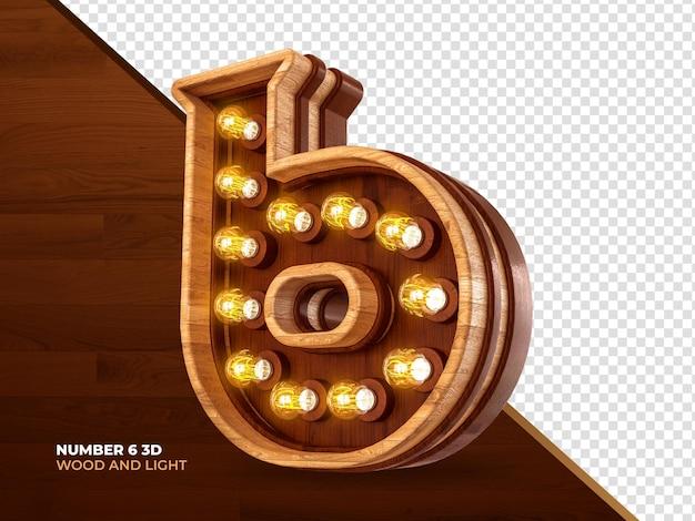 Número 6 3d render madeira com luzes realistas