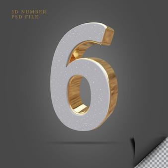 Número 6 3d render pedra com ouro