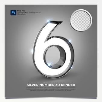 Número 6 3d render silver estilo com elementos