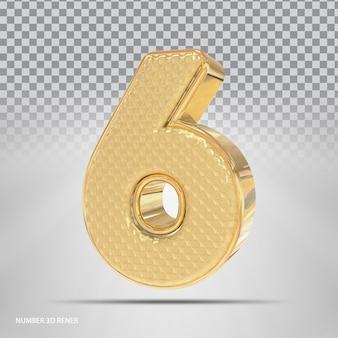 Número 6 com estilo 3d dourado