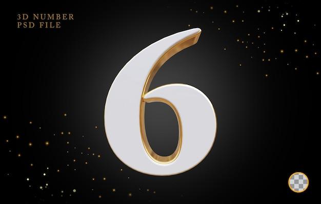 Número 6 com renderização 3d em estilo dourado