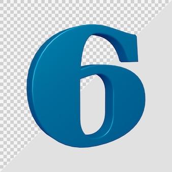 Número 6 em renderização 3d