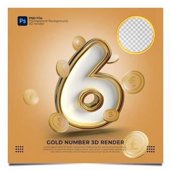 Número 6 renderização em 3d estilo ouro com elemento