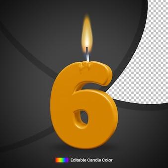 Número 6, vela acesa de aniversário com chama