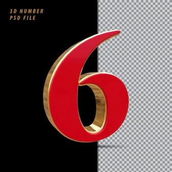 Número 6 vermelho com renderização 3d em estilo dourado