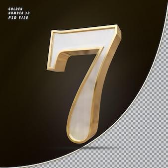 Número 7 3d luxo dourado