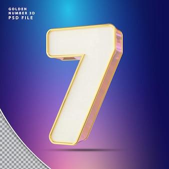 Número 7 3d render luxo