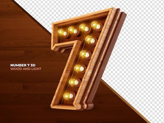 Número 7 3d render madeira com luzes realistas
