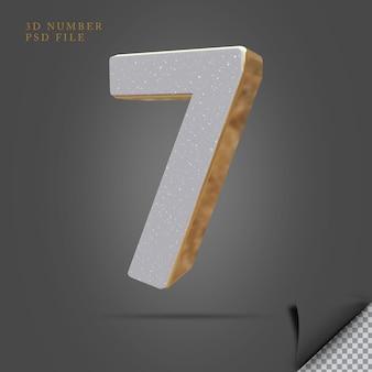 Número 7 3d render pedra com ouro