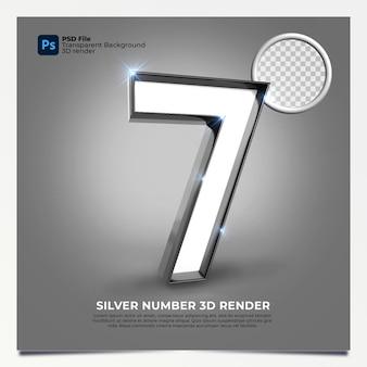 Número 7 3d render silver style com elementos