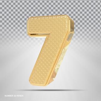 Número 7 com estilo 3d dourado