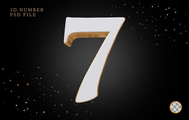 Número 7 com renderização 3d em estilo dourado