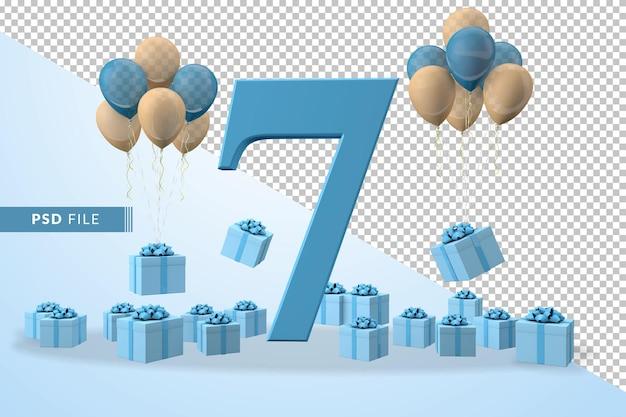 Número 7 da caixa de presente azul para festa de aniversário balões amarelos e azuis