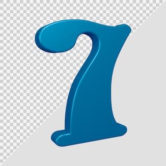 Número 7 em renderização 3d