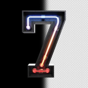 Número 7 feito de luz neon