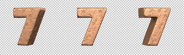 Número 7 (sete) do conjunto de coleta de números de cobre. isolado. renderização 3d