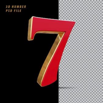 Número 7 vermelho com renderização em 3d estilo dourado