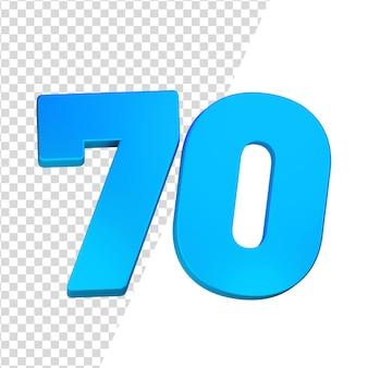Número 70 3d renderizado isolado
