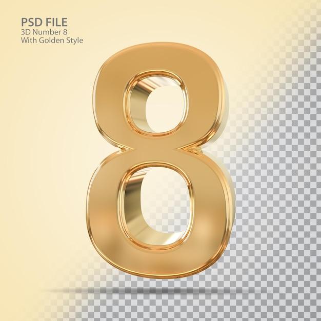 Número 8 3d com estilo dourado
