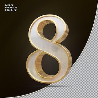 Número 8 3d luxo dourado