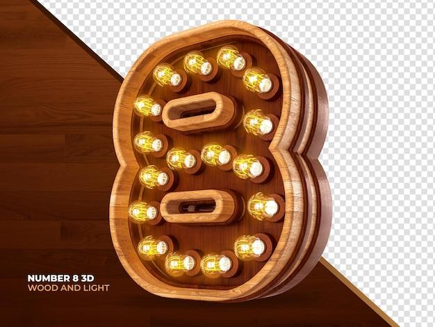 Número 8 3d render madeira com luzes realistas
